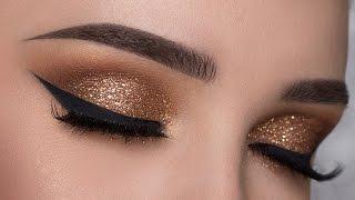 getlinkyoutube.com-EASY Copper Glitter Smokey Eye Makeup Tutorial