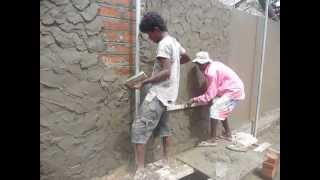 getlinkyoutube.com-Sri  Lanka,ශ්‍රී ලංකා,Ceylon,Plastering a Brick wall (Mortar)