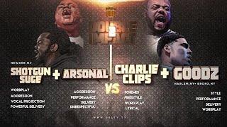 CHARLIE CLIPS + GOODZ VS ARSONAL + SHOTGUN SUGE  SMACK/ URL RAP BATTLE