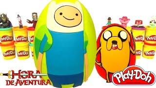 getlinkyoutube.com-2 Huevos Sorpresas Gigantes de Hora de Aventura en Español Plastilina Play Doh