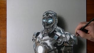 getlinkyoutube.com-Drawing time lapse: Iron Man - hyperrealistic art