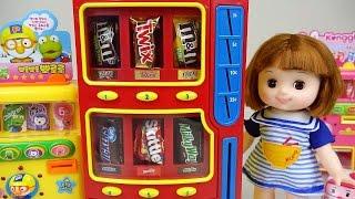 getlinkyoutube.com-Candy Dispenser & Baby Doll 뽀로로 콩순이와 타요 폴리 초콜릿 자판기 장난감놀이