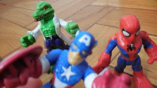 getlinkyoutube.com-Capitão América Captain america Falcão Falcon Hulk Playskool Marvel Imaginext Toys Juguetes Kids