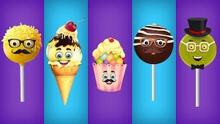 getlinkyoutube.com-Cake Pop, Ice Cream, Cup Cake, Chocolate and Lollipop Finger Family Songs