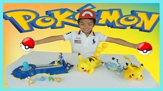 getlinkyoutube.com-TOMY POKEMON TOY REVIEW / UNBOXING | ASH'S ARENA CHALLENGE & BATTLE MOVES PIKACHU