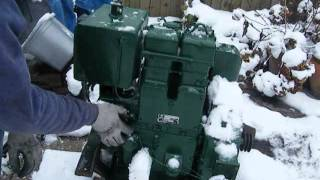 getlinkyoutube.com-lister ST2A twin cylinder hand start startup in -3 !!!! cold start