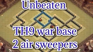 getlinkyoutube.com-Clash of Clans - BEST TOWN HALL 9 TH9 war base 2 Air sweeper | REPLAY and SPEED BUILD