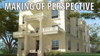 كيفية عمل المنظور المعمارى   how to make architecture perspective 1/10