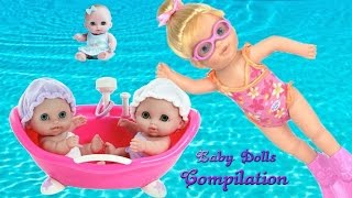 getlinkyoutube.com-Baby Doll Bath Time Fun Pretend Play Baby Dolls Toys Video Compilation | TheChildhoodLife