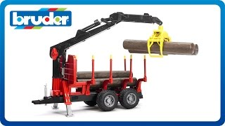 getlinkyoutube.com-Bruder Toys Forestry Trailer with Crane, Grapple and 4 Logs #02252