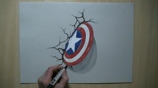 getlinkyoutube.com-Drawing 3D shield - Captain America, Trick Art