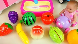 getlinkyoutube.com-Fruit vegetable cutting play with Baby Doll and surprise eggs and car toys