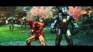 getlinkyoutube.com-Iron Man and War Machine vs.  Hammer Drones - Iron Man 2