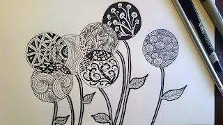 getlinkyoutube.com-Zentangle Inspired Flowers/ Zendoodle Art / Beginner