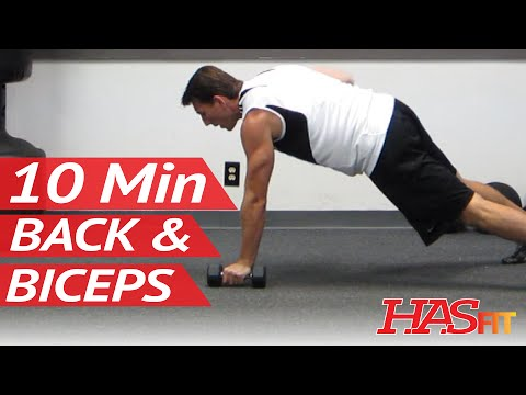 HASfit 10 Minute Back and Biceps Workout - Home Back Bicep Exercises Work Out Routine