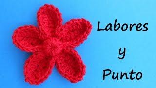 getlinkyoutube.com-Aprende a tejer esta flor con petalos a ganchillo o crochet