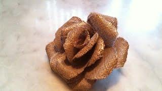 getlinkyoutube.com-طريقة سهلة لصنع وردة من قماش خيش          أشغال يدوية  2016