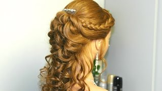 getlinkyoutube.com-Curly prom, bridal hairstyle for long hair with french braids