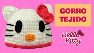 getlinkyoutube.com-Gorro de Hello Kitty tejido a crochet talla 1 año