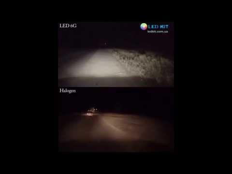 LED Headlight 6G vs halogen test Honda CR-V