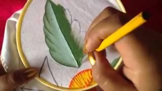 getlinkyoutube.com-Pintura en tela hojas de girasol con cony