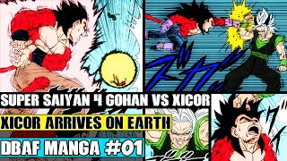 Dragon Ball AF Chapter 1: Xicor Arrives! Super Origin + Saiyan 4 Gohan Vs Xicor (Fan Manga Review)