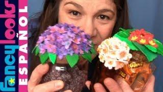 getlinkyoutube.com-Cómo hacer Flores de goma Eva en tapas de tarros de vidrio reciclados
