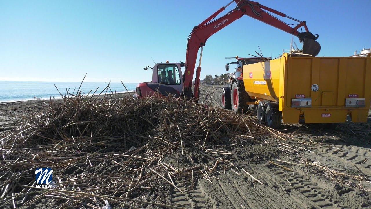 Limpieza del litoral tras el paso de Filomena