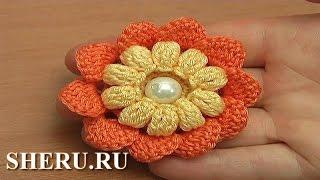 getlinkyoutube.com-Вязание крючком цветка с попкорнами Урок 115 Crochet Popcorn Stitch Flower
