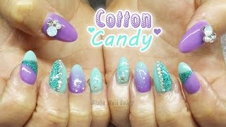 getlinkyoutube.com-Cute mint and lilac cotton candy inspired glitter acrylic nail art | nail design
