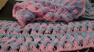 getlinkyoutube.com-Como tejer una bufanda de  dos colores con marimur  573