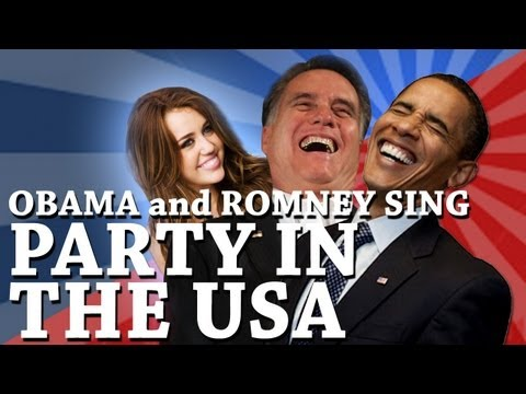 Barack Obama and Mitt Romney Singing Party in the USA by Miley Cyrus (PREVIEW)
