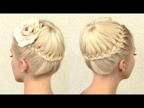 Circle crown braid tutorial for medium long hair French braided updo for events