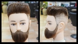 getlinkyoutube.com-Pompadour Fade & Beard Trim - TheSalonGuy
