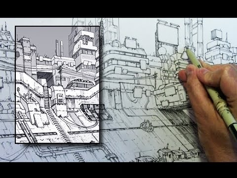 "Inking Time Lapse: Dystopian Cityscape from ""Brody's Ghost"""