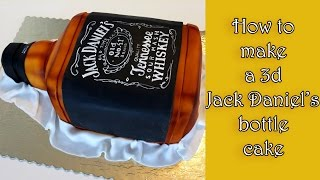 getlinkyoutube.com-How to make a 3d Jack Daniel's bottle cake / Jak zrobić tort w kształcie butelki