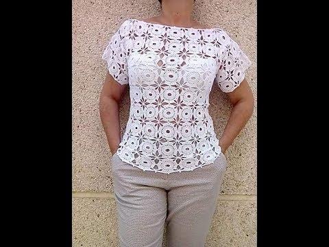 tutorial crochet como realizar y montar blusa granny