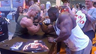 getlinkyoutube.com-Bodypower Expo UK Blessing awodibu arm wrestle Zac Ansley