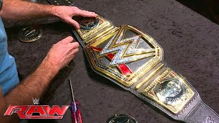 getlinkyoutube.com-History is made as Dean Ambrose's custom plates are added to the WWE World Heavyweight Championshi..