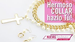 getlinkyoutube.com-Como hacer collar cadena perlas cream con Caro Jaramillo Kit 23155