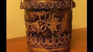 getlinkyoutube.com-Цветочный горшок из майонезной банки (Flower pots of mayonnaise jars).