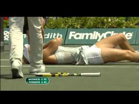 Caroline Wozniacki anke injury - Charleston 2010