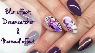 getlinkyoutube.com-Blur effect, Mermaid & Dreamcatcher: Nail Art Tutorial | Łapacz snów i e. Syrenki