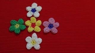 getlinkyoutube.com-Crochet: Flor 5 pétalos con piña de puntos altos dobles (flower bobbles)