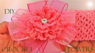 getlinkyoutube.com-Como tejer fácil y rápido flores y diademas - How to crochet headbands and florwers
