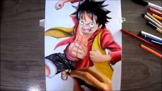 getlinkyoutube.com-Drawing Luffy One piece (desenhado Luffy)
