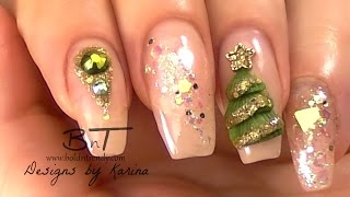 getlinkyoutube.com-Magic Frost Nails - Olive Green and Gold Christmas Nail Art - 3D Christmas Tree (E052)