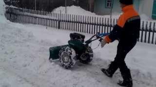 getlinkyoutube.com-Чистим снег мотокультиватором Кайман