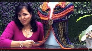 getlinkyoutube.com-Saquito Hojarasca - Tejido RÁPIDO con dedos - Tejiendo con Laura Cepeda
