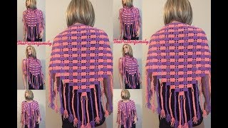 getlinkyoutube.com-How to Crochet a Brick Shawl with Braided Tassels Pattern #71│by ThePatterfamily